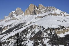 Rote wand from south, dolomites. Scenic landscape of rote wand mountain in winter, shot in bright light Stock Photos