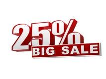 rote weiße Fahne des großen Verkaufs von 25 Prozentsätzen - Zeichen und Block Stockbilder