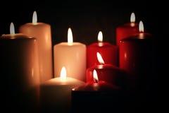 Rote weiße Kerze Stockfoto