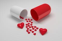 Rote wei?e Pillenkapsel mit vielen kleinen Herzen vektor abbildung