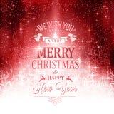 Rote weiße Typografiekarte der frohen Weihnachten mit Lichtern und snowfl Stockfotografie