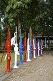 Rote, weiße und blaue alte Pumpen Lizenzfreies Stockbild