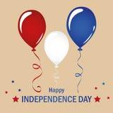 Rote weiße und blaue Ballonfeier eingestellt für Unabhängigkeitstag USA lizenzfreie abbildung