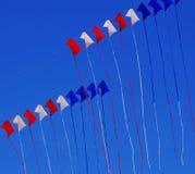 Rote weiße und blaue Drachen Stockfotos
