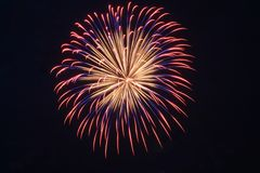 Rote, weiße und blaue Feuerwerke stockfotos