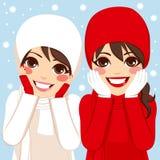 Rote weiße Winter-Freunde stock abbildung