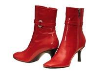 Rote weibliche Schuhe Stockbilder