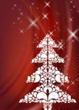 Rote Weihnachtsauslegung mit Baum lizenzfreie abbildung