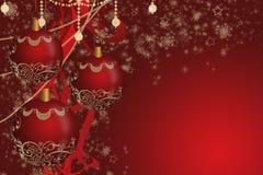 Rote Weihnachtsbälle stockfoto