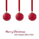 Rote Weihnachtsbälle stockfotografie
