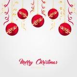 Rote Weihnachtsbälle mit Goldbändern auf einem hellen Hintergrund Vector Illustration auf dem Thema von Weihnachten und von neuem Stockbild