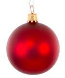 Rote Weihnachtsballverzierung erhellt stockfotos