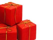 Rote Weihnachtsgeschenke Stockfotos