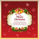 Rote Weihnachtsgrußkarte Stockbilder