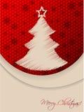 Rote Weihnachtsgrußkarte mit gekritzelter Baum- und Hexagonrückseite Stockfoto