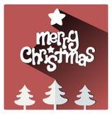 Rote Weihnachtsgrußkarte mit Stern und Bäumen Stockfoto
