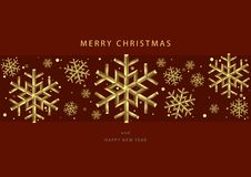 Rote Weihnachtshintergründe mit Goldschneeflocken stockbilder