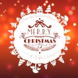 Rote Weihnachtskarte mit Beschriftung Stockbilder