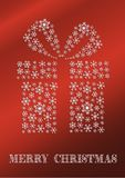 Rote Weihnachtskarte mit einem Geschenk gemacht von den Schneeflocken lizenzfreie abbildung