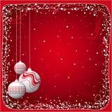 Rote Weihnachtskarte mit Kugeln Lizenzfreie Stockfotos