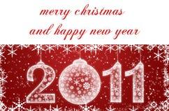 Rote Weihnachtskarte mit Schneeflocken Stockbilder
