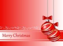 Rote Weihnachtskarte mit Weihnachtsbällen Stockbild