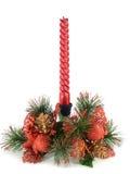 Rote Weihnachtskerze Stockfoto