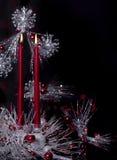 Rote Weihnachtskerzen Stockbild