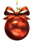 Rote Weihnachtskugel getrennt Stockfoto