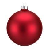 Rote Weihnachtskugel getrennt auf Weiß Lizenzfreies Stockbild