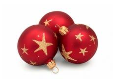 Rote Weihnachtskugeln Stockbild