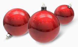 Rote Weihnachtskugelverzierungen Stockfoto