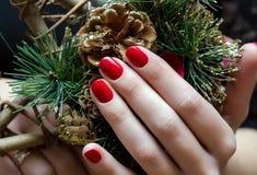 Rote Weihnachtsmaniküre stockfotografie