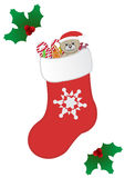 Rote Weihnachtssocke Stockfoto