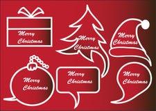 Rote Weihnachtsspracheblasen Stockfotos