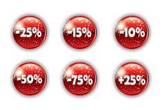 Rote Weihnachtstaste für Ihre Web site Stockfoto