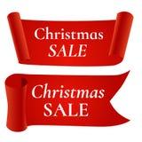 Rote Weihnachtsverkaufsfahne, lokalisiert auf weißem Hintergrund Lizenzfreies Stockbild