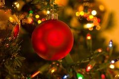 Rote Weihnachtsverzierung im Weihnachtsbaum Stockbild
