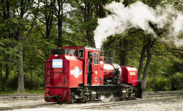 Rote Weinlesedampflokomotive, die entlang Bahnstrecken sich bewegt Lizenzfreie Stockfotos