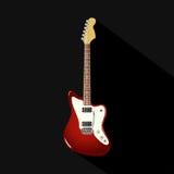 Rote Weinlesee-gitarre auf einem schwarzen Hintergrund Stockbilder