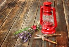 Rote Weinlesekerosinlampe und weise Blumen auf Holztisch. Konzept der schönen Kunst. Stockfoto