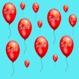 Rote Werbung des Spaßes steigt niedrige Preise des Verkaufs im Ballon auf Stockfotos