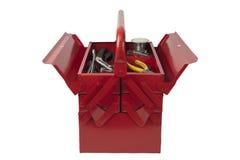 Rote Werkzeugkastenfrontseite mit Hilfsmitteln Lizenzfreie Stockbilder