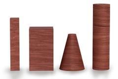 Rote Wiedergabe des Holzes 3D von geometrischen Zahlen mit den Schatten lokalisiert auf Weiß Stockfotografie