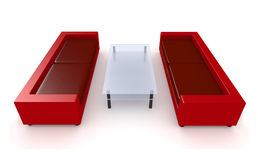 Rote Wohnzimmer-Möbel 1 Lizenzfreie Stockbilder