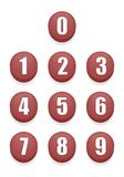 Rote Zahl-Knöpfe lizenzfreies stockbild