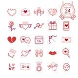 Rote Zeichen und Symbollinie Ikonen stellten vom Herzen und von den romantischen Elementen für Valentinsgrußtag ein Stockfotografie