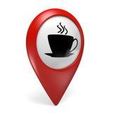 rote Zeigerikone der Karte 3D mit einem heißen Getränksymbol für Cafés und Kaffeestuben Stockfotografie