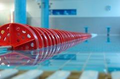 Rote Zeile im Swimmingpool stockbilder