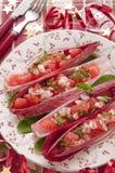 Rote Zichorieblätter gefüllt mit rosafarbener Pampelmuse lizenzfreies stockbild